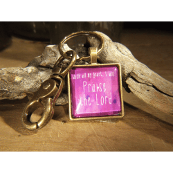 PORTE-CLES STYLE RETRO ROSE PRAISE THE LORD