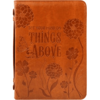 Pochette Bible, similicuir brun, Large - Set your Mind on Things Above