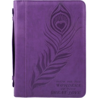 Pochette Bible, similicuir violet, Large - Show Me the Wonders of Your Great Love